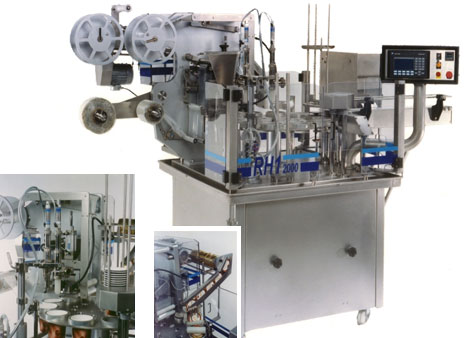 Rotative filling and packaging machine for ice cream RH