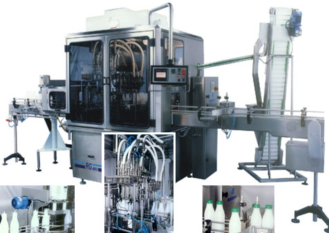 Automatic linear filling and capping machine for bottles DOS /B