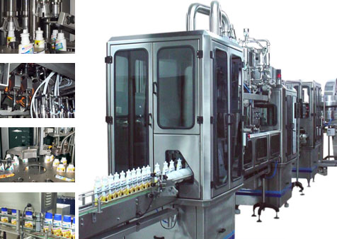 Linear filling and vacuum closing machine for glass packaging.